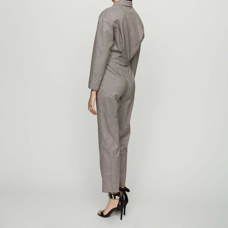 Belted plaid jumsuit : Trousers color CARREAUX