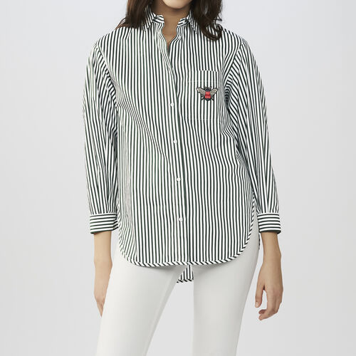 Striped cotton shirt : Shirts color Stripe