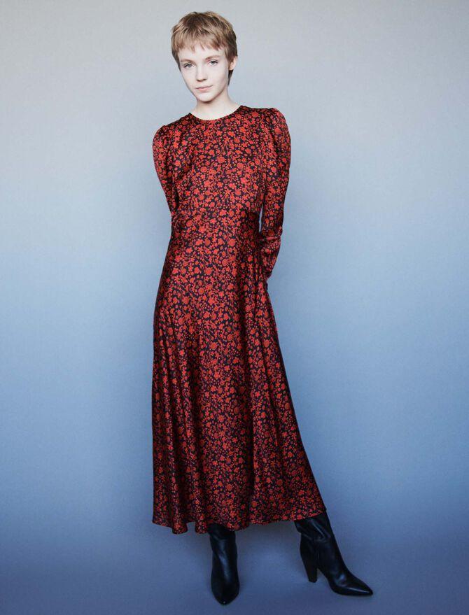Printed-satin dress - SoldesBE_30 - MAJE