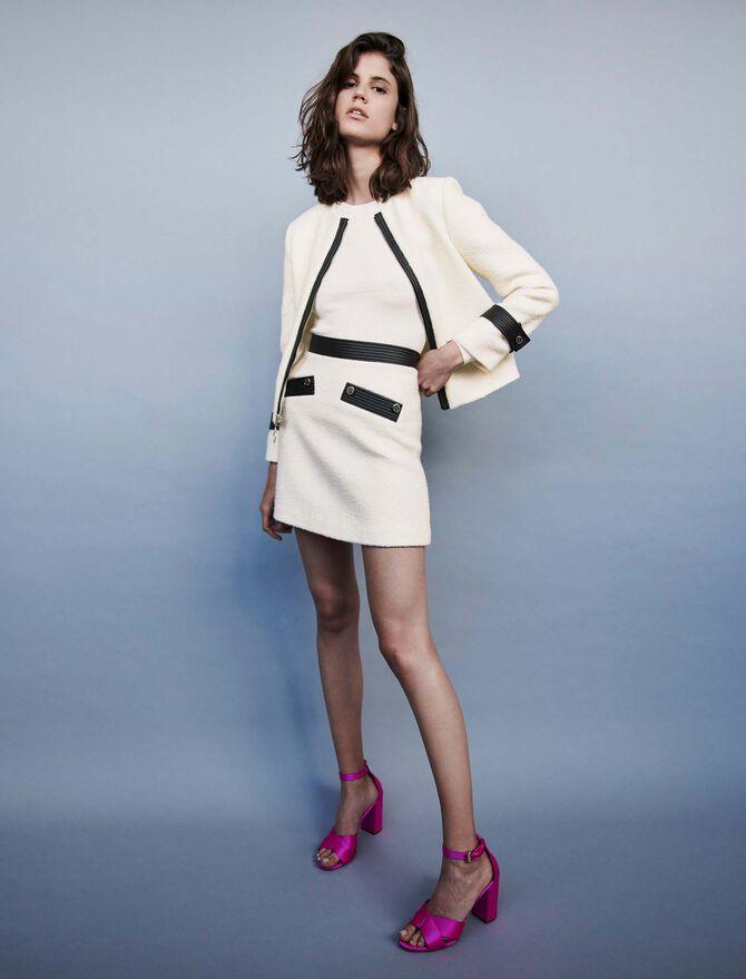 Tweed-style contrast pencil skirt - SoldesBE_50 - MAJE