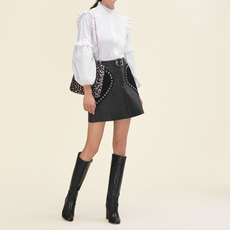 Leather A-line skirt : Skirts & Shorts color Black 210