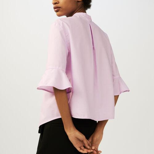 Striped poplin shirt : Shirts color Pink