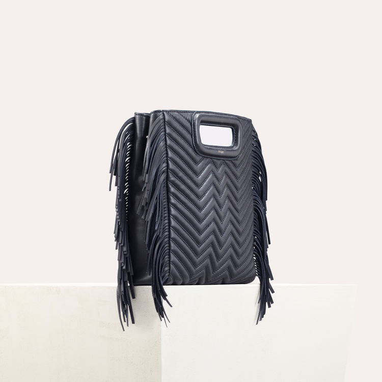 Quilted leather M bag : M bags color Navy