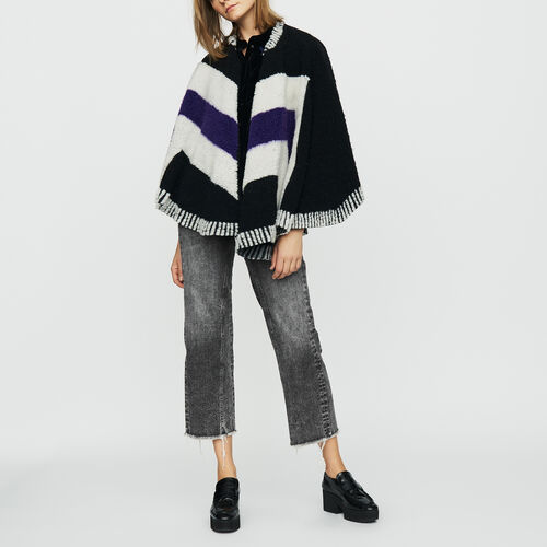 Poncho with sheepskin : Knitwear color Black 210