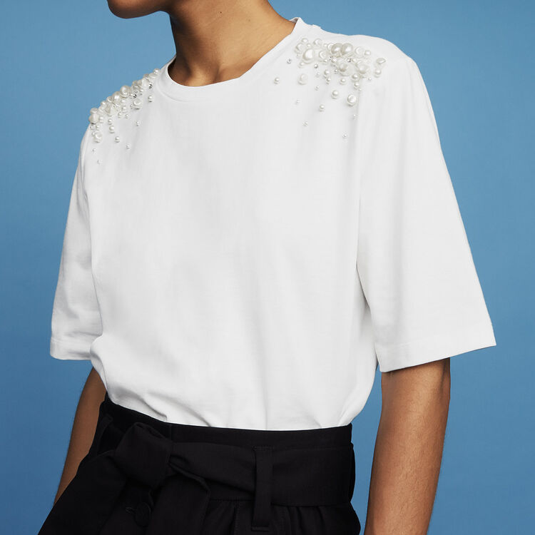 Cotton T-shirt with pearl detailing : T-Shirts color White