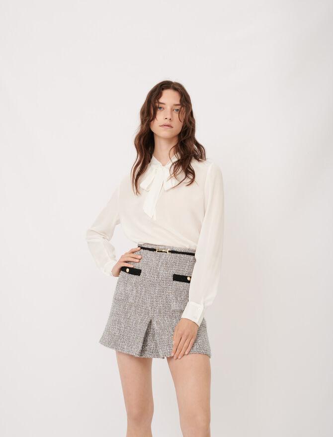 Silk pussy-bow collar top - Tops & Shirts - MAJE