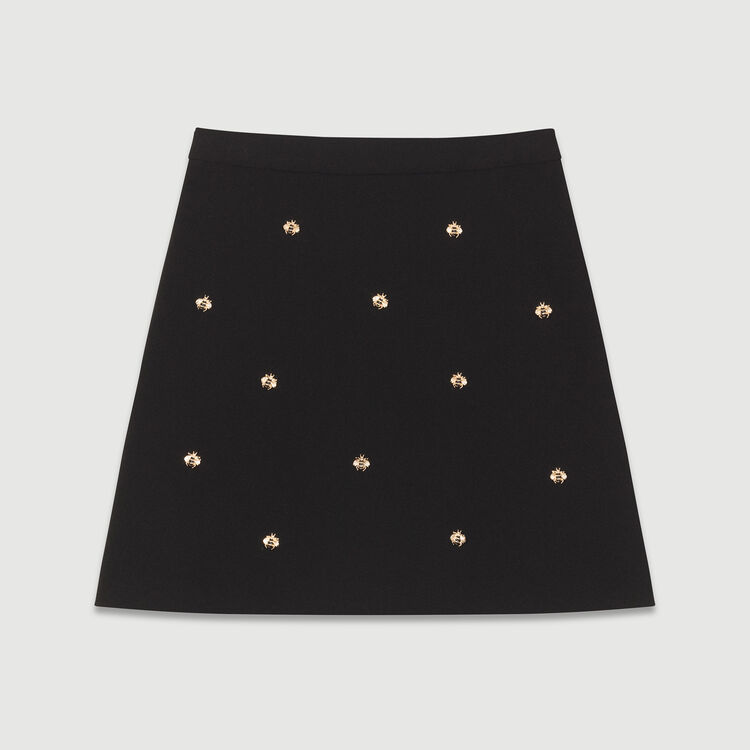 Skirt with bee embroidery : Skirts & Shorts color Black 210