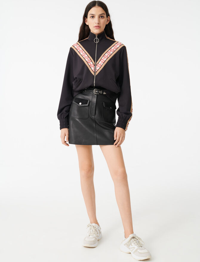 Zip sweatshirt with contrasting bands - Pullovers & Cardigans - MAJE