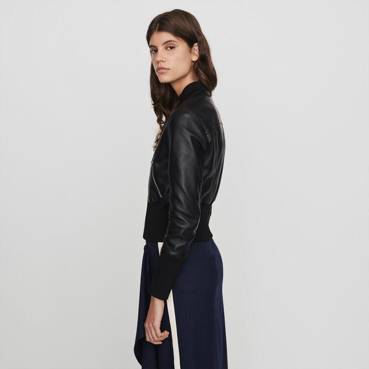 Leather jacket with rib-knit trim : Coats & Jackets color Black