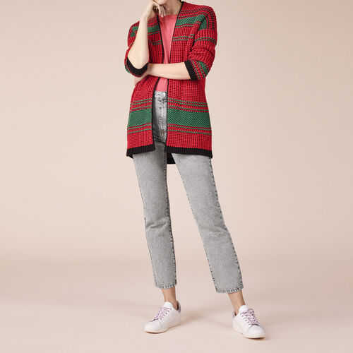 Two-tone moss stitch knit cardigan : Sweaters & Cardigans color Two-Tone