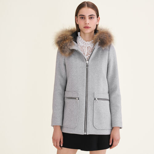 Coat with decorative zips : Coats color Grey