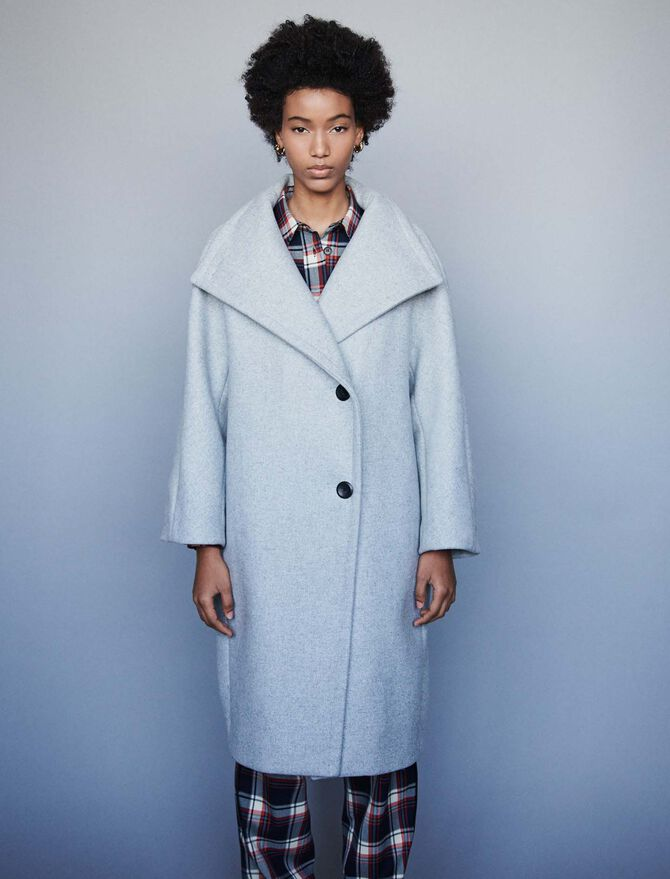 Long wool coat with wide collar - Jackets & Blazers - MAJE