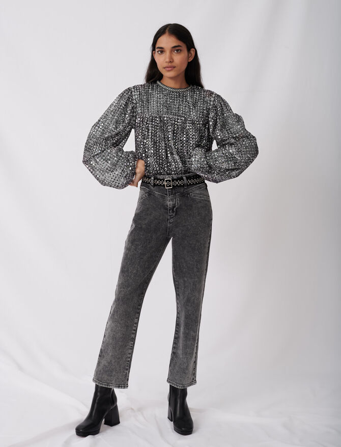 Straight cut jeans with fancy belt - Trousers & Jeans - MAJE