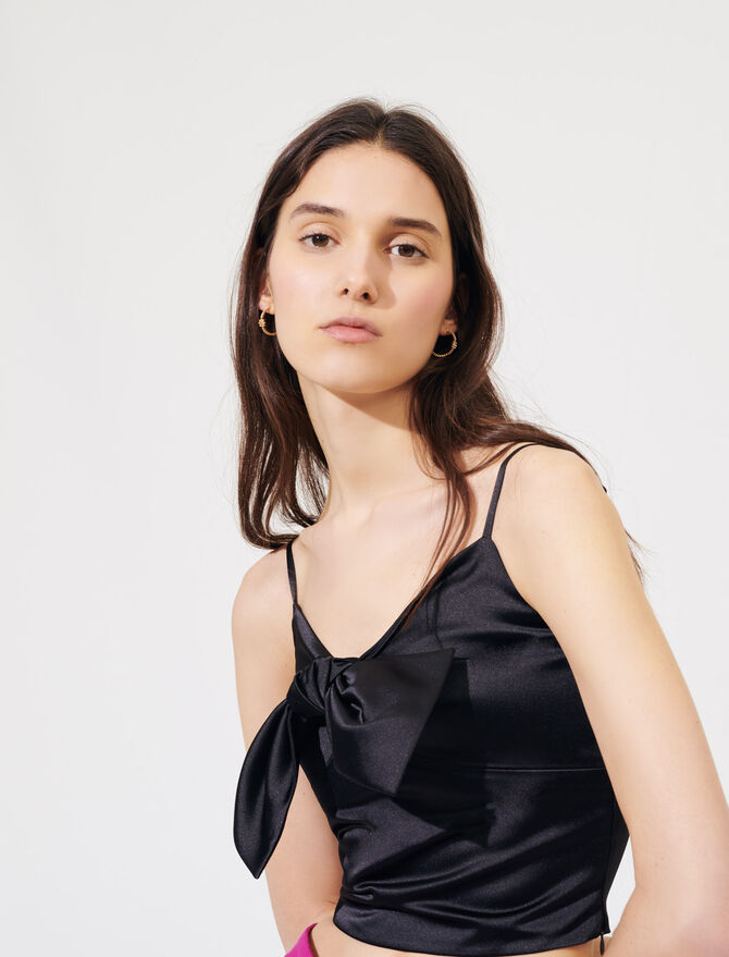 Satin top with large bow - All the collection - MAJE