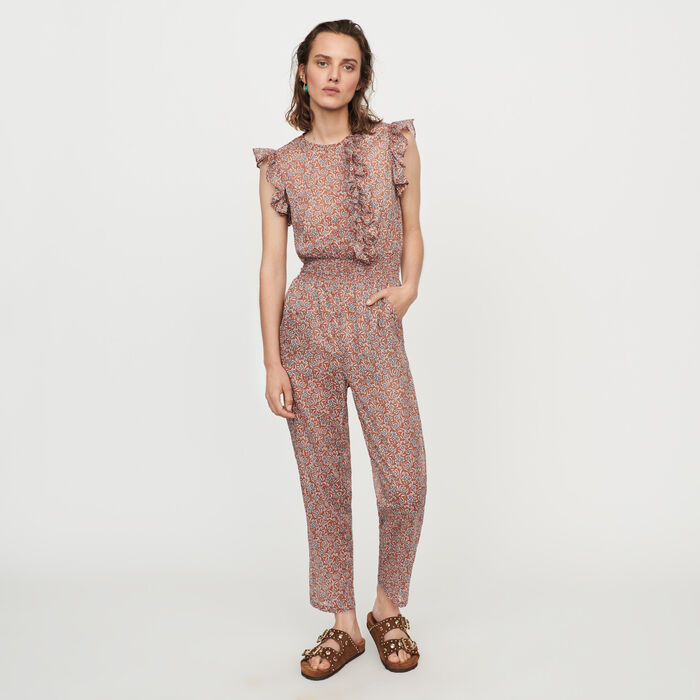 Floral-print cotton voile jumpsuit : Trousers & Jeans color Terracota