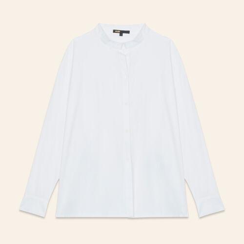 Asymmetric poplin shirt : Tops color White
