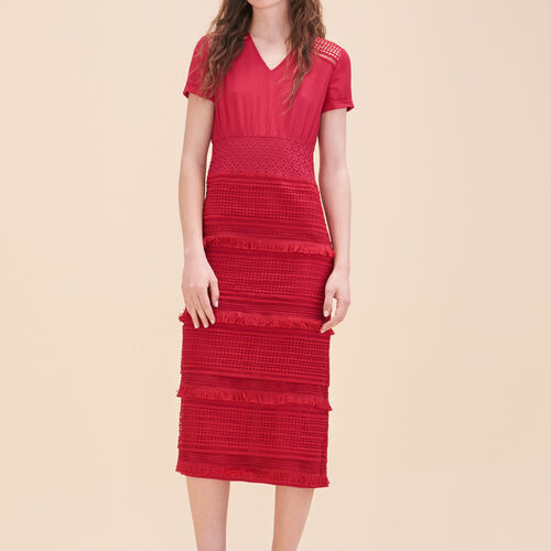 Embroidered crepe dress : See all color Raspberry