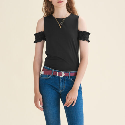 Off-the-shoulder sleeveless top : T-shirts color Black 210