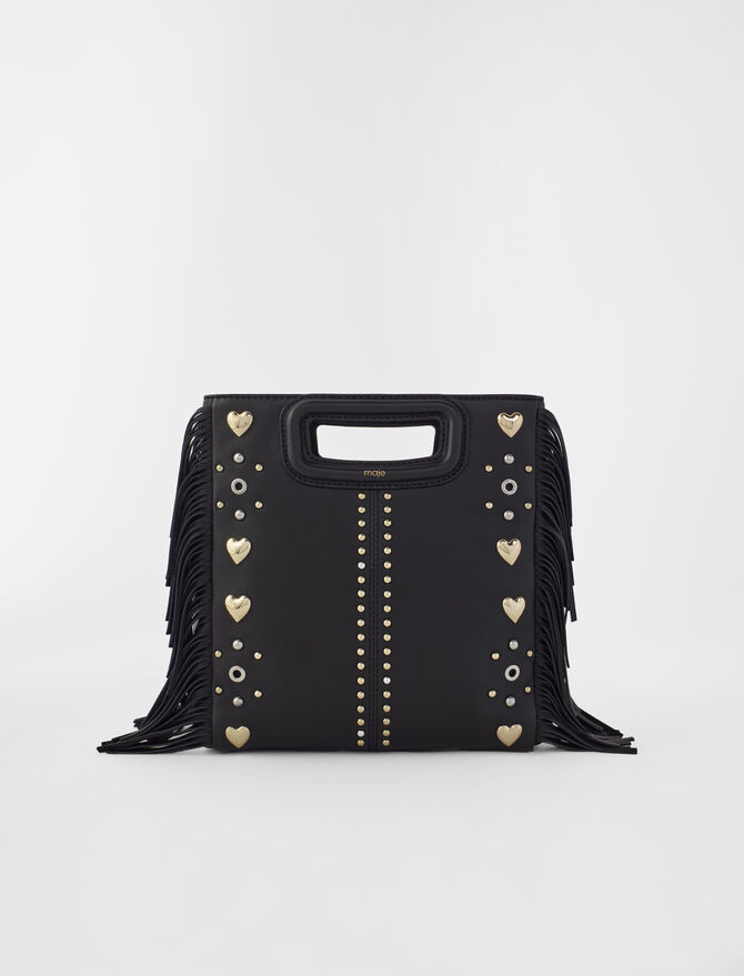 M leather bag with heart studs -  - MAJE