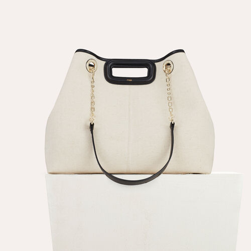 M canvas tote with chain : M Walk color Two-Tone