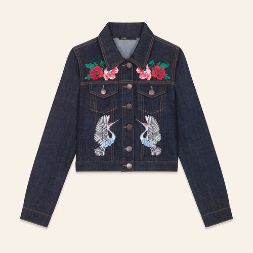 Denim jacket with embroidered crests - Jackets - MAJE