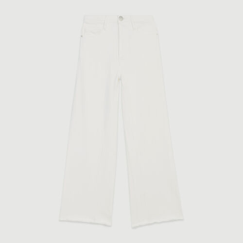 High-waisted wide leg jeans : Trousers & Jeans color WHITE