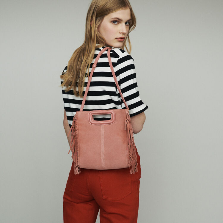 M bag with suede fringes : M bag color Pink