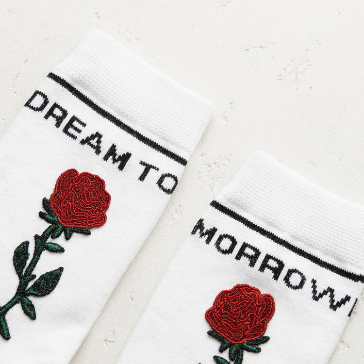 Tall embroidered socks : See all color WHITE