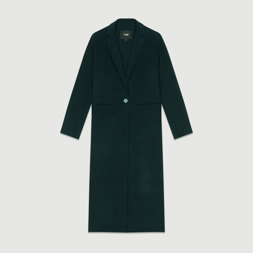 Long coat in double-faced wool : Coats color GREEN
