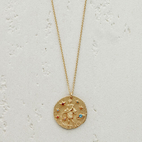 Aquarian zodiac sign necklace : Jewelry color GOLD