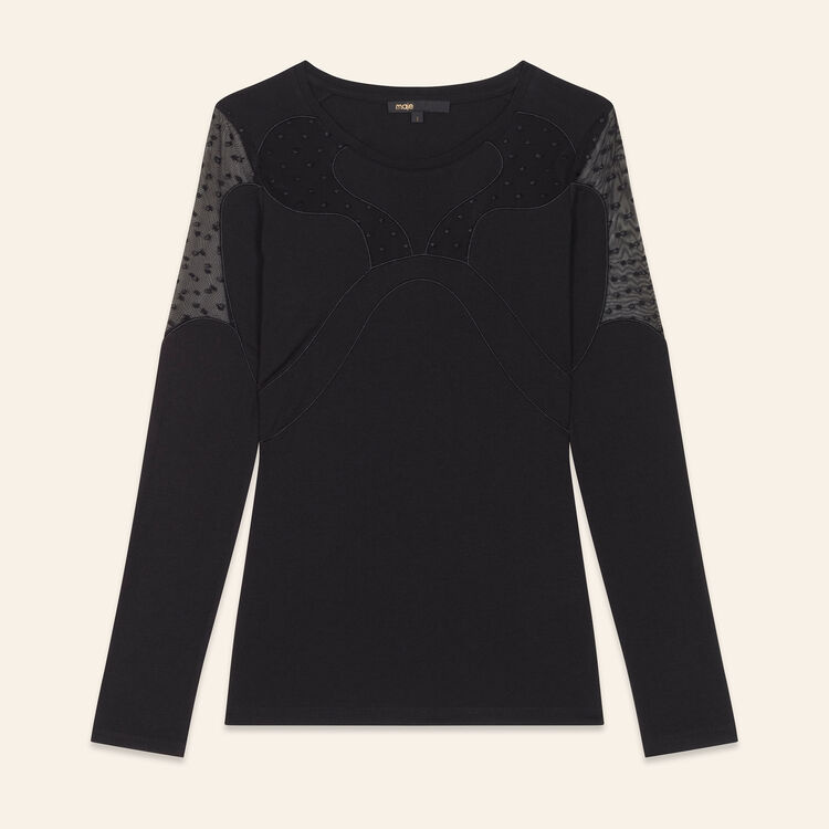 T-shirt with dotted Swiss : T-shirts color Black 210
