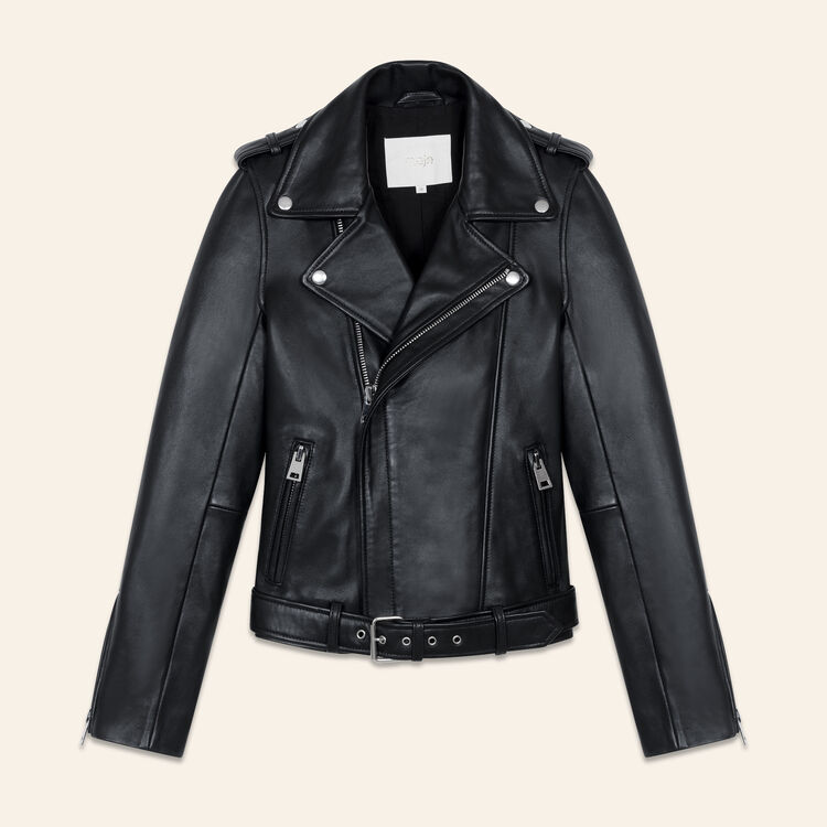 Belted biker jacket in leather : Jackets color Black 210