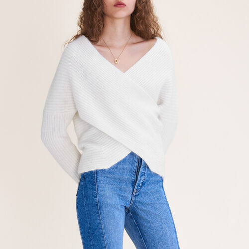 Knitted wrap front jumper : See all color Ecru