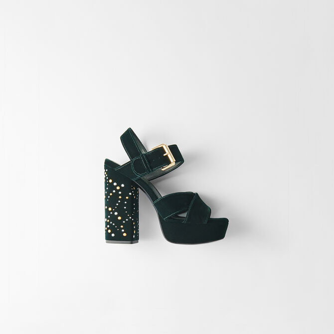 Studded velvet platform sandals - Bags & Accessories - MAJE