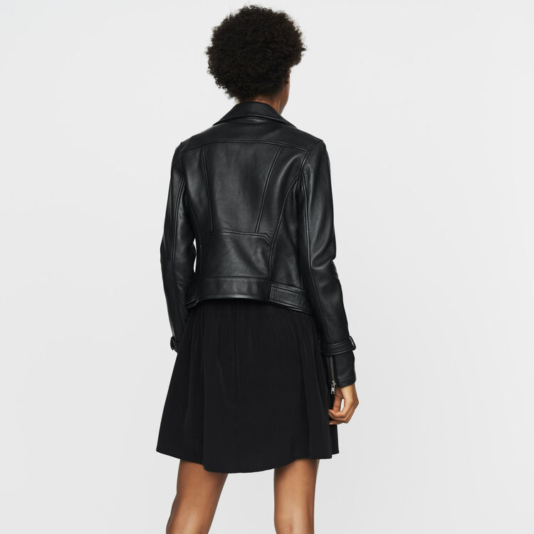 Biker-style leather jacket : New Collection color BLACK