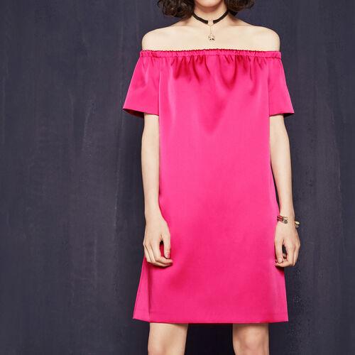Satin off-the-shoulder dress : 80% off color Fuschia