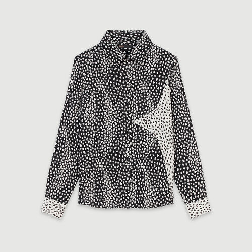 Patched jacquard-printed shirt : Winter collection color Black