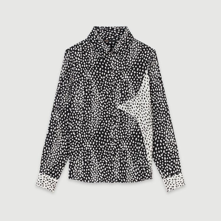 Patched jacquard-printed shirt : Tops & Shirts color Black