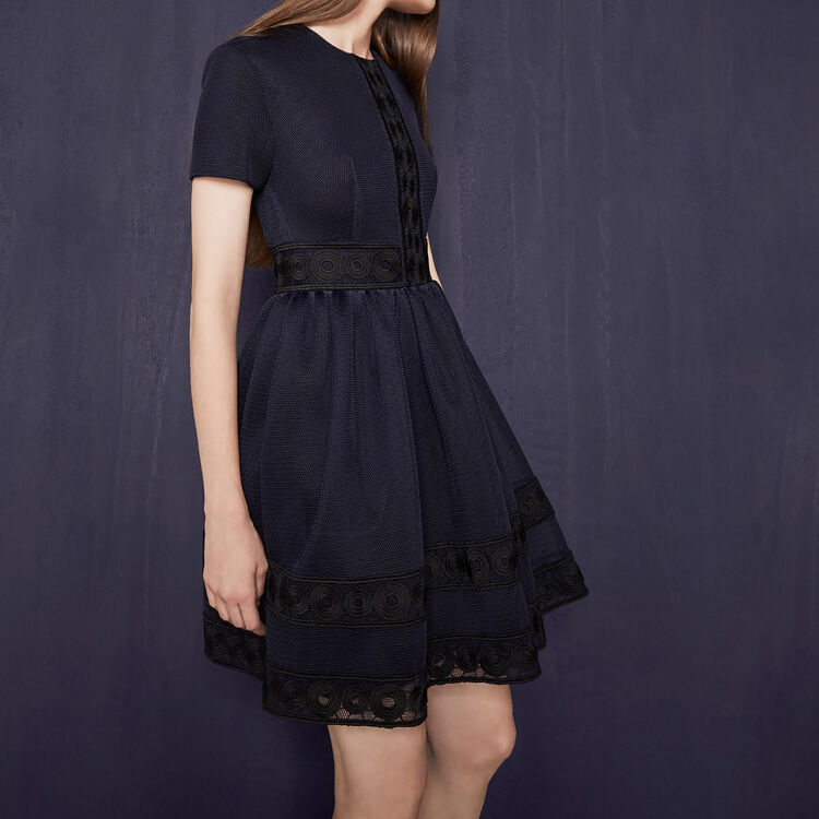 Basket knit dress with guipure : Party Wear color Night