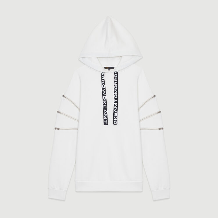 Hooded sweatshirt with zips : Sweatshirts color White