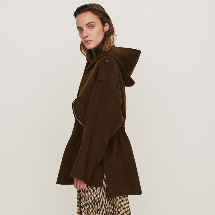 Double face cape coat : Coats & Jackets color Khaki