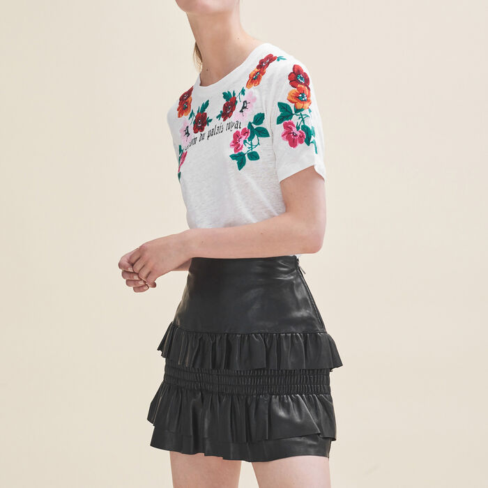 Flounced leather skirt : Skirts & Shorts color Black 210