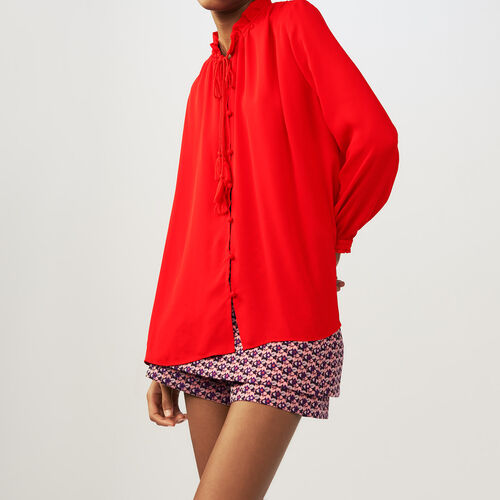 Flowing blouse with cord tie : Tops color Red