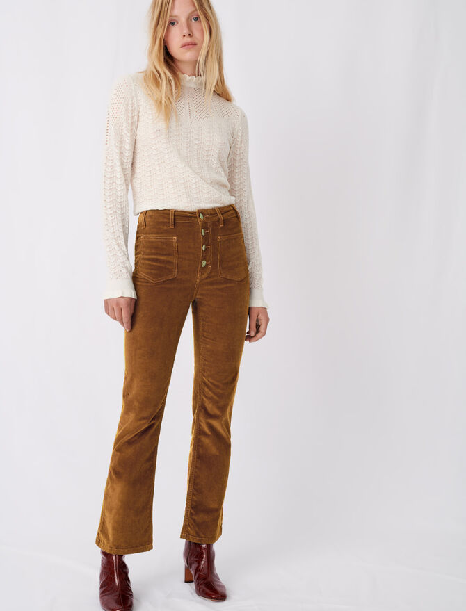 Straight-cut velvet trousers - Trousers & Jeans - MAJE