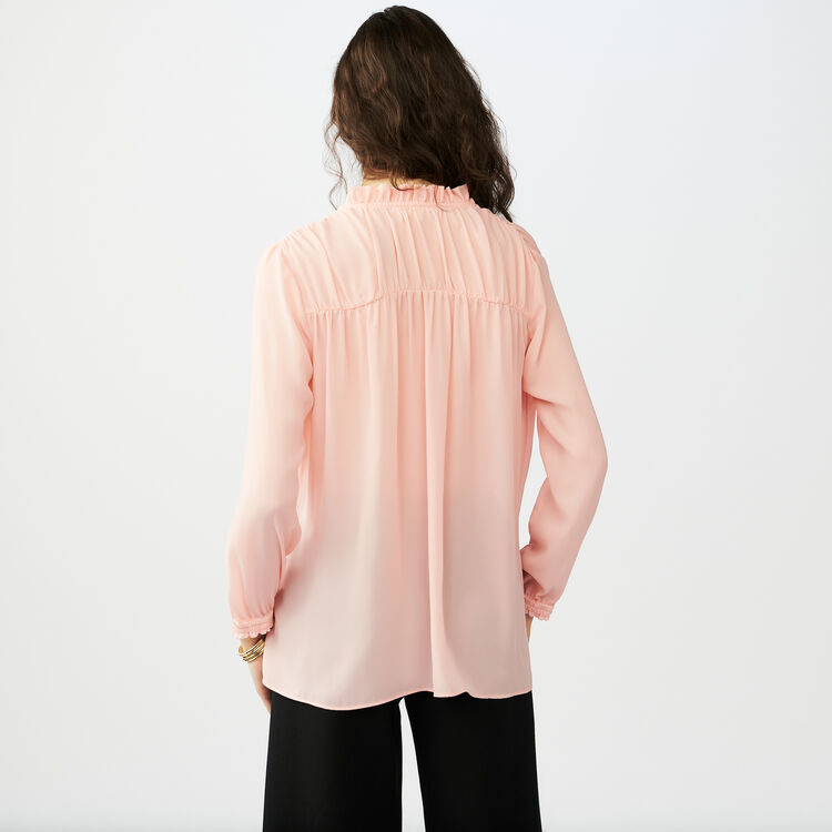 Flowing blouse with cord tie : Shirts color Pink
