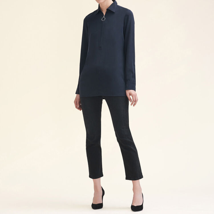 Silk shirt with zip : Shirts color Black 210
