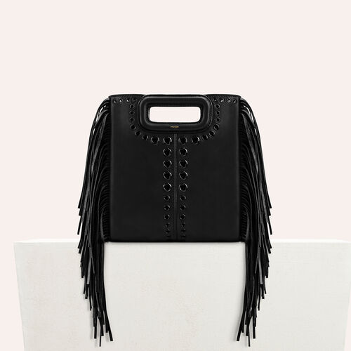 Leather M bag with eyelets and fringing : Sacs color Black 210