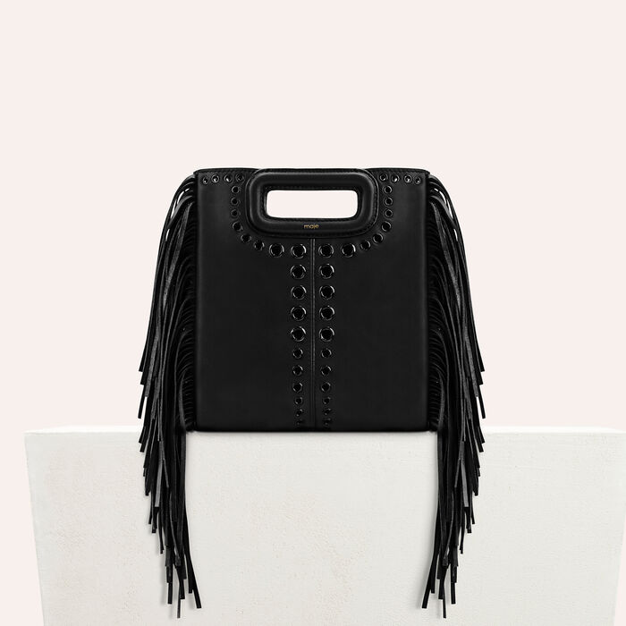 Leather M bag with eyelets and fringing -  - MAJE