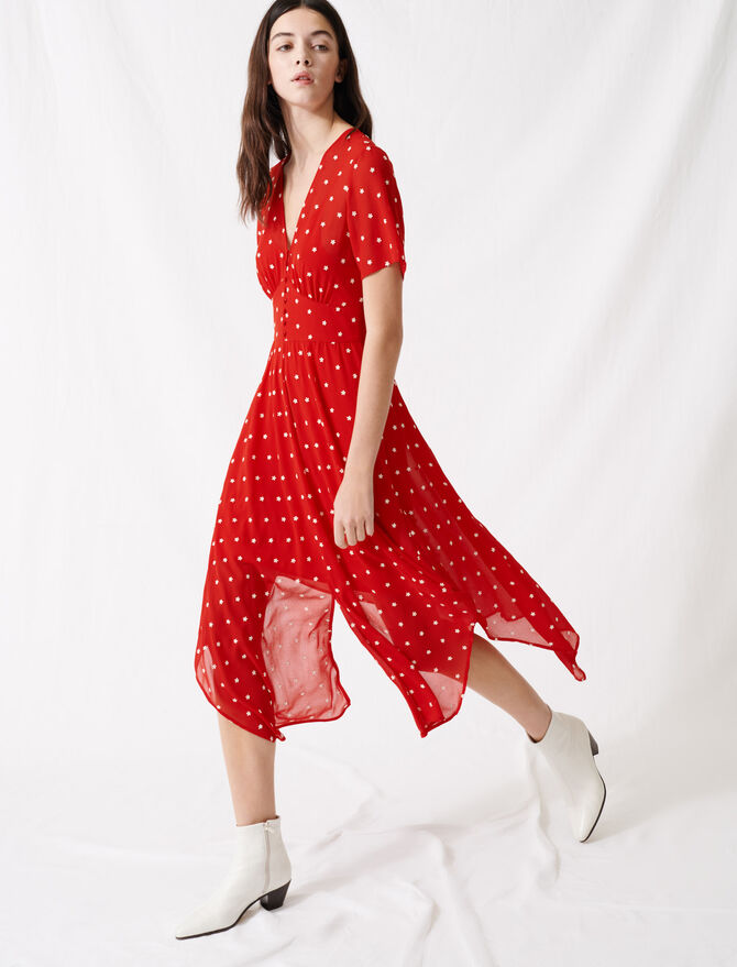 Long embroidered muslin dress -  - MAJE