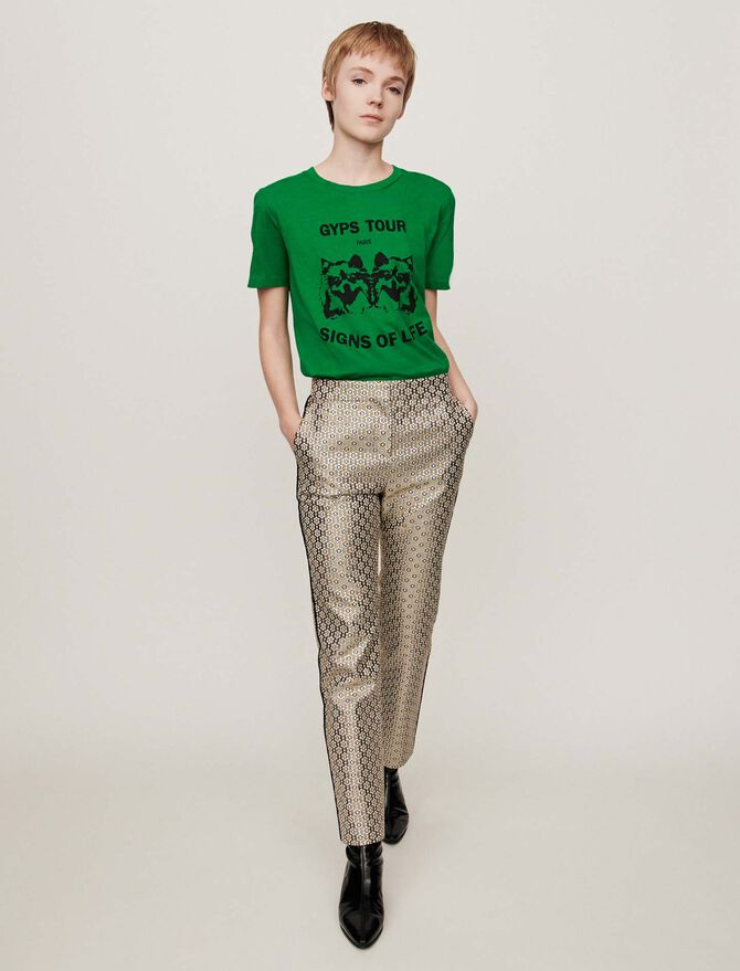 Lurex jacquard pants -  - MAJE